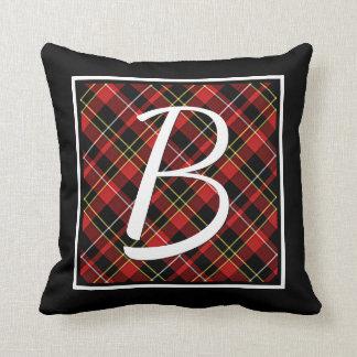 Custom Simple Red Yellow Black Tartan Pattern Throw Pillow