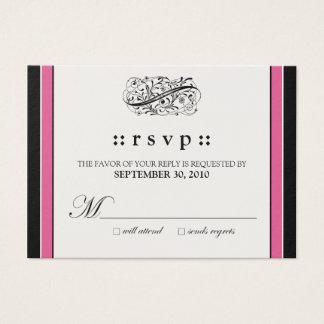 "::custom:: Simply Elegant 3.5x2.5"" Fuschia RSVP Business Card"