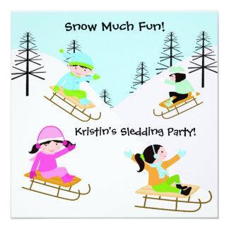 Custom Sledding Party Birthday Invitations