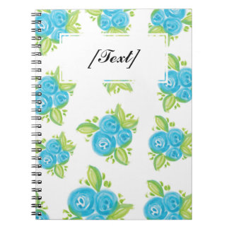 Custom Small Blue Roses Spiral Notebook