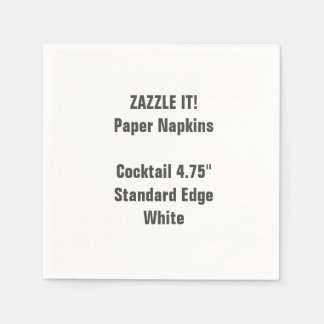 Custom Small WHITE Cocktail Paper Napkins Blank
