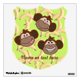 Custom smiling monkeys with bananas wall sticker