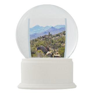 "Custom Snow Globe ""Saguaro in the Mountains"""