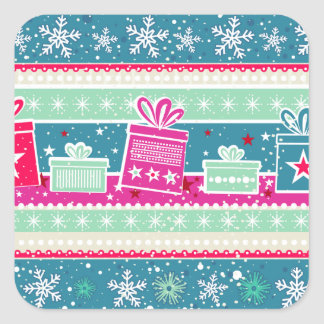 Custom Snowflakes and Presents Square Sticker