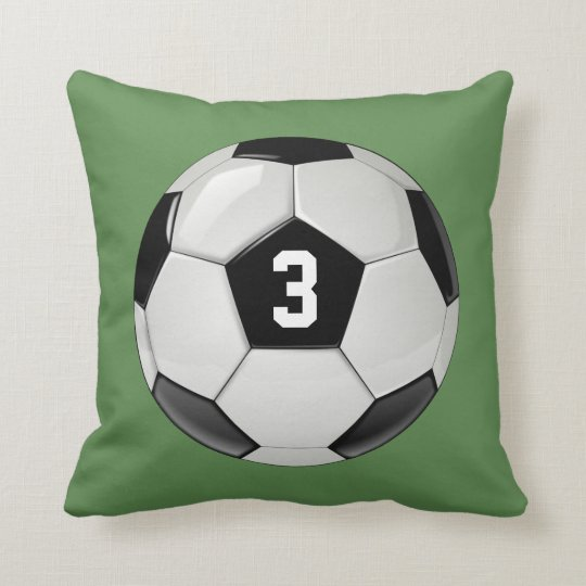 Custom Soccer Ball with Jersey Number Throw Pillow