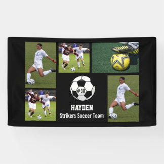 Custom Soccer Photo Collage Name Team Number Banner