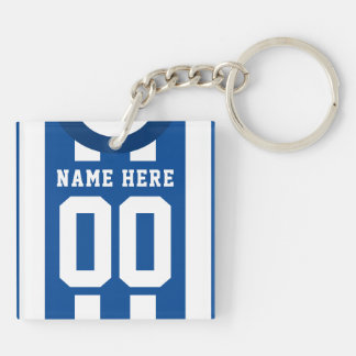 Custom Soccer Rugby Jersey Keyring, Blue Stripes Keychain