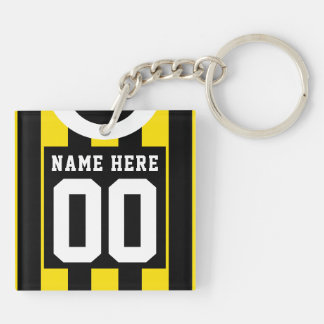 Custom Soccer Rugby Jersey Keyring, Gold Black Keychain