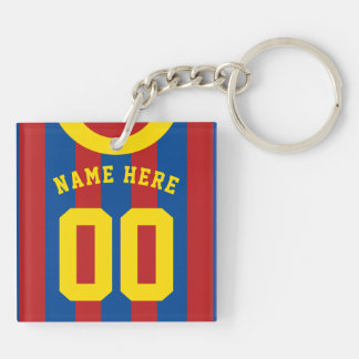 Custom Soccer Rugby Jersey Keyring, Red & Blue Keychain