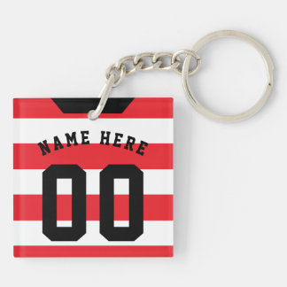 Custom Soccer Rugby Jersey Keyring, Red Stripes Keychain