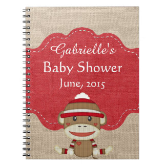 Custom Sock Monkey Baby Shower Gift Notebook