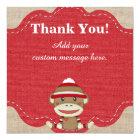 Custom Sock Monkey Party Gift Thank You Card