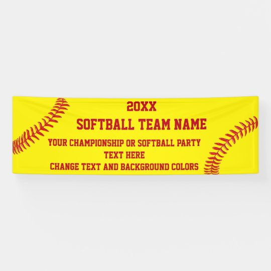 Custom Softball Banner Your Text and Colours