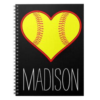 Custom Softball Heart Spiral Notebook