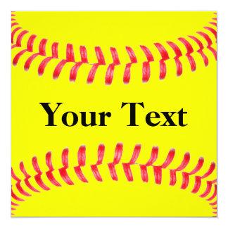 "Custom Softball Invitations 5.25"" Square Invitation Card"