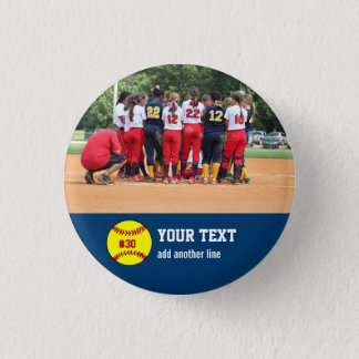 Custom Softball Team or Player Photo Name Number 1 Inch Round Button