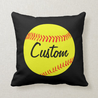 Custom Softball Throw Pillow