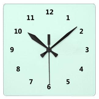Custom Solid Light Mint Green Color Square Wall Clock