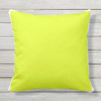 Custom solid plain bright yellow / white frame outdoor pillow