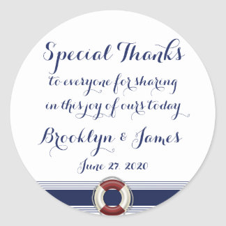 Custom Special Thanks Nautical Wedding Stickers