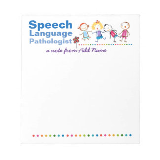 Custom Speech Pathologist's Colorful Kids Note Pad