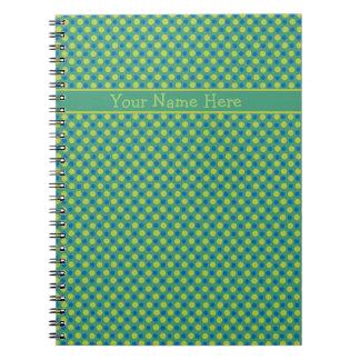 Custom Spiral Notebook, Blue and Green Polka Dots Notebooks