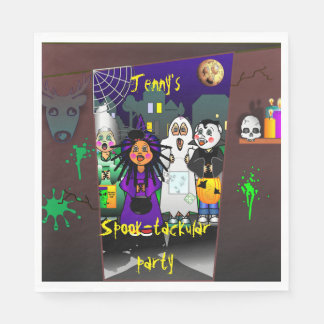 Custom Spook-tackular Halloween Party Paper Napkins