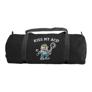 Custom sports bag with funny tennis player cartoon