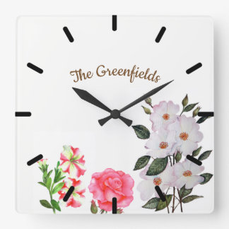 Custom Spring Flowers Floral Art Square Wall Clock