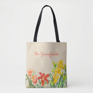 Custom Spring Summer Flowers Tote Bag
