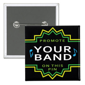 Custom Square Button Pin Band Self Promotion