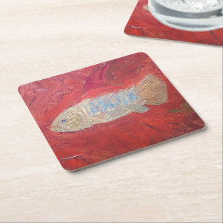 Custom Square Coasters, 'Fossil fish' Square Paper Coaster