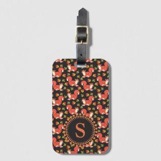 Custom Squirrel and Autumn Leaf Pattern Luggage Tag