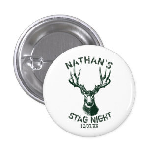 Custom Stag Night Antlers 1 Inch Round Button