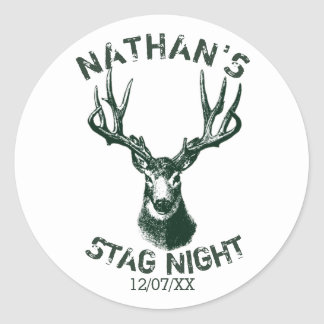 Custom Stag Night Antlers Round Sticker