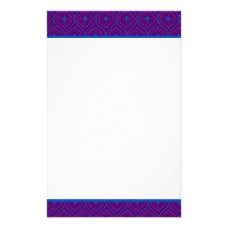 Custom Stationery, Notepaper, Purple, Blue Pattern Stationery Paper