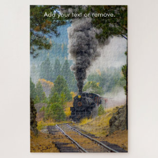 Custom, steam train puffs through tree landscape, jigsaw puzzle