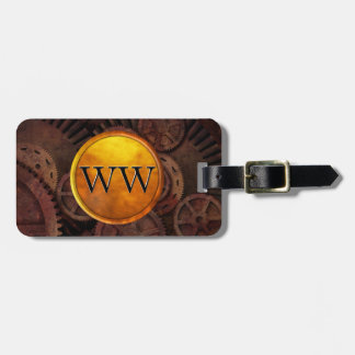 Custom Steampunk Gears and Gold Luxury Monogram Luggage Tag