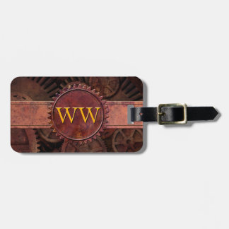 Custom Steampunk Gears Leather Luxury Monogram Luggage Tag