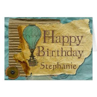 Custom Steampunk Vintage Birthday Card