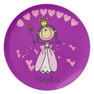 Custom Stick Figure Princess Kids Plate