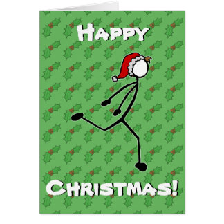 Custom Stickman Runner Christmas Card Holly Berry