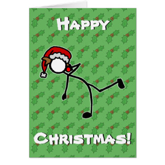Custom Stickman Shot Put Christmas Holly Berry Card