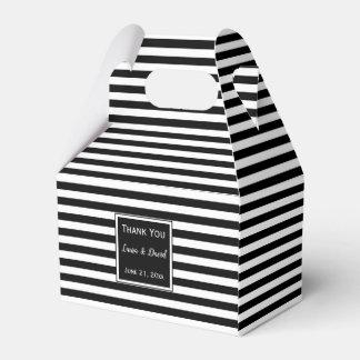 Custom Striped Black and White Wedding Favour Box