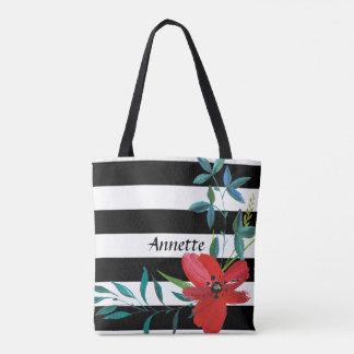 Custom Striped Floral Bride Tote Bag