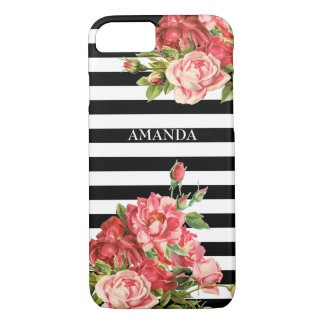 Custom stripes and roses Case-Mate iPhone case