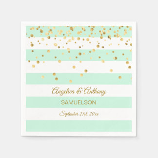Custom Stripes MINT GREEN Gold Wedding Anniversary Paper Napkin