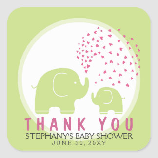 Custom Stylish Green Elephants Thank You Stickers