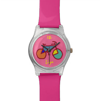 custom stylized color bicycle on pink watch