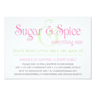 Custom Sugar and Spice Baby Girl Shower Invitation